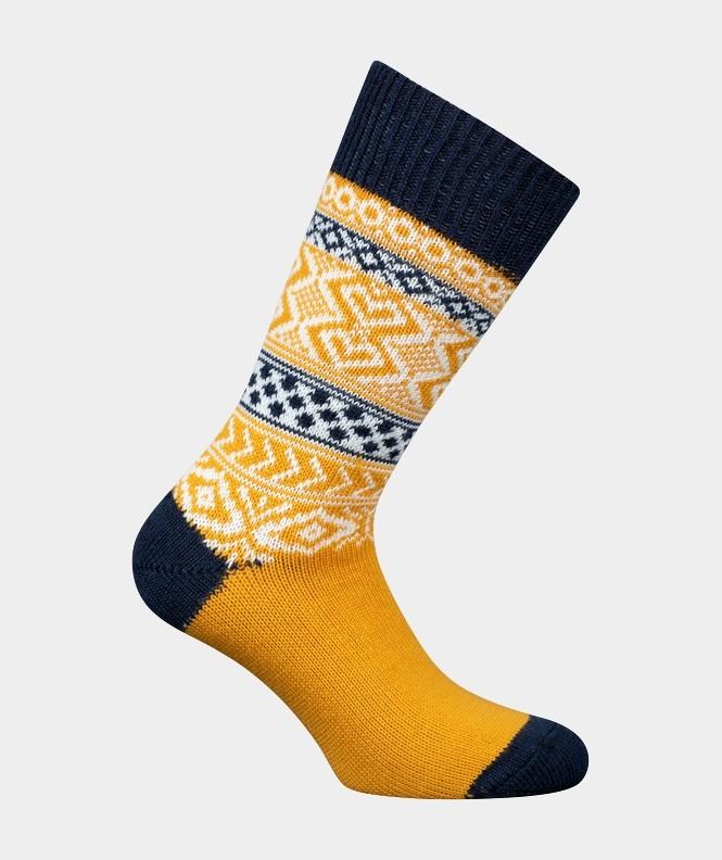 Mi-chaussettes Grosses mailles motifs norvégien multicolores Acrylique et Laine Bleu