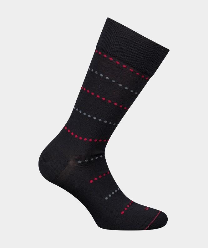 Mi-chaussettes Rayures pois Coton et Laine Noir