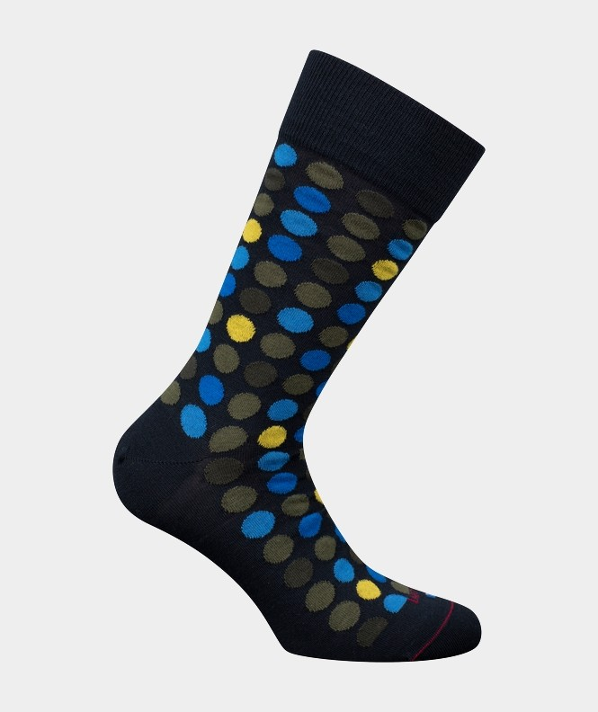 Mi-chaussettes Semis pois multicolores Coton et Laine Bleu