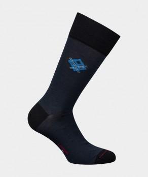 Mi-chaussettes Losange placé Coton et Laine Bleu