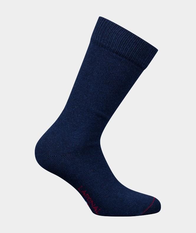 Mi-chaussettes Unies Cachemire et Laine Bleu