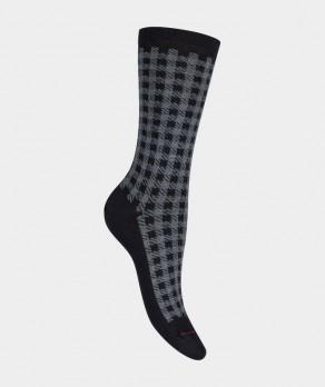 Mi-chaussettes Pied de coq Coton Noir