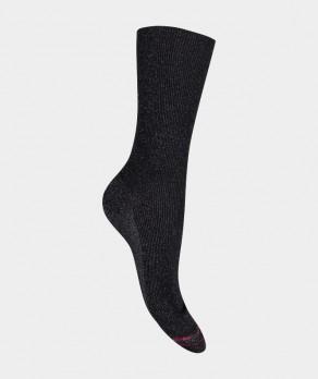 Mi-chaussettes Non comprimantes brillantes Coton Noir