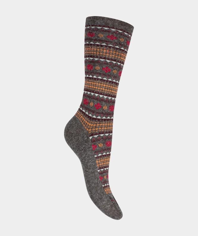 Mi-chaussettes Motifs norvégiens Angora et Viscose Marron