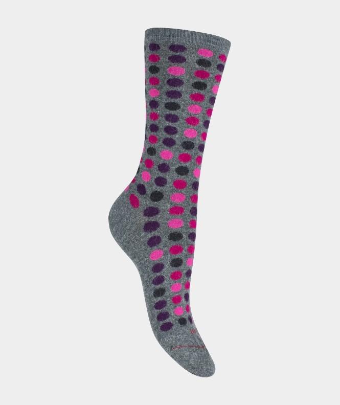 Mi-chaussettes Pois semis multicolores Angora et Viscose Gris