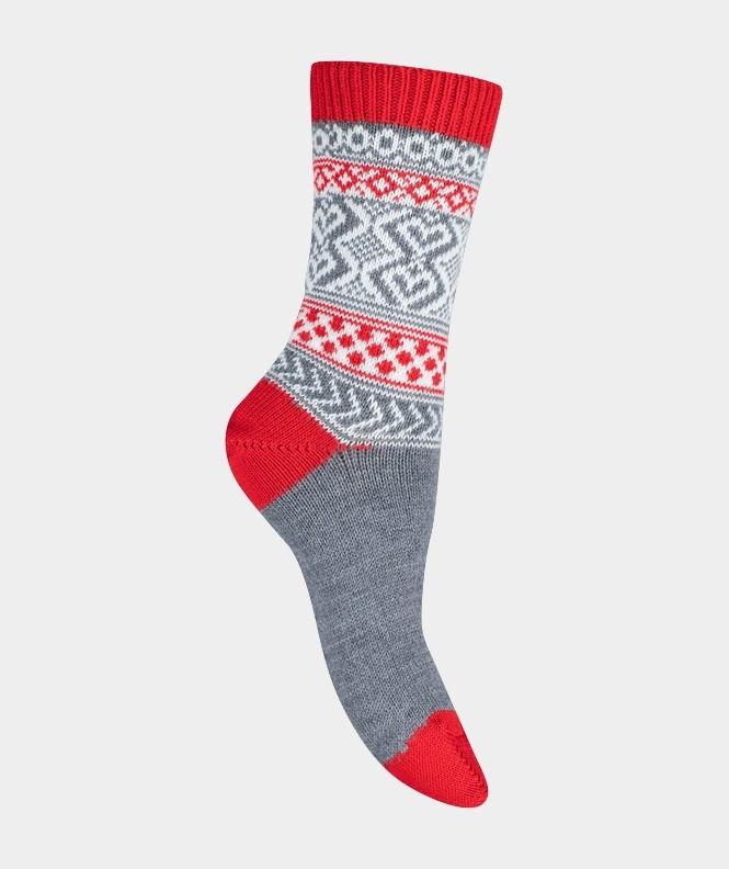 Mi-chaussettes Grosses mailles motifs norvégiens colorées Acrylique et Laine Rouge