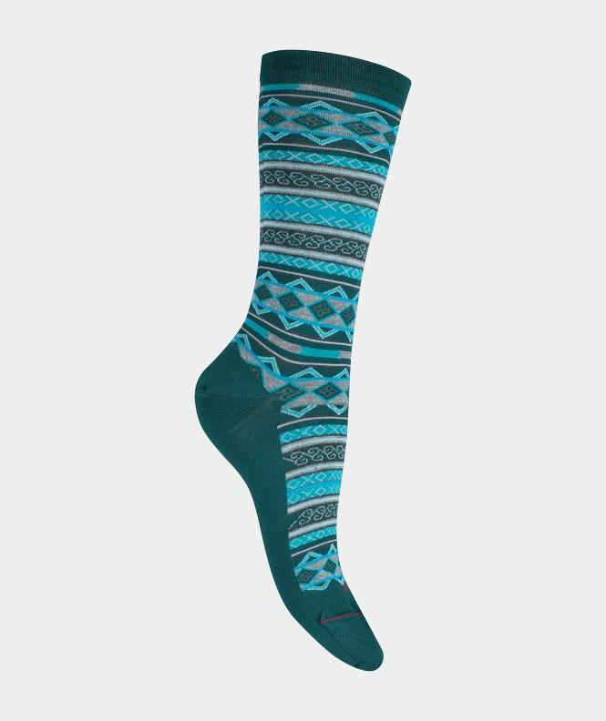 Mi-chaussettes Rayures géométriques Laine et Coton Vert