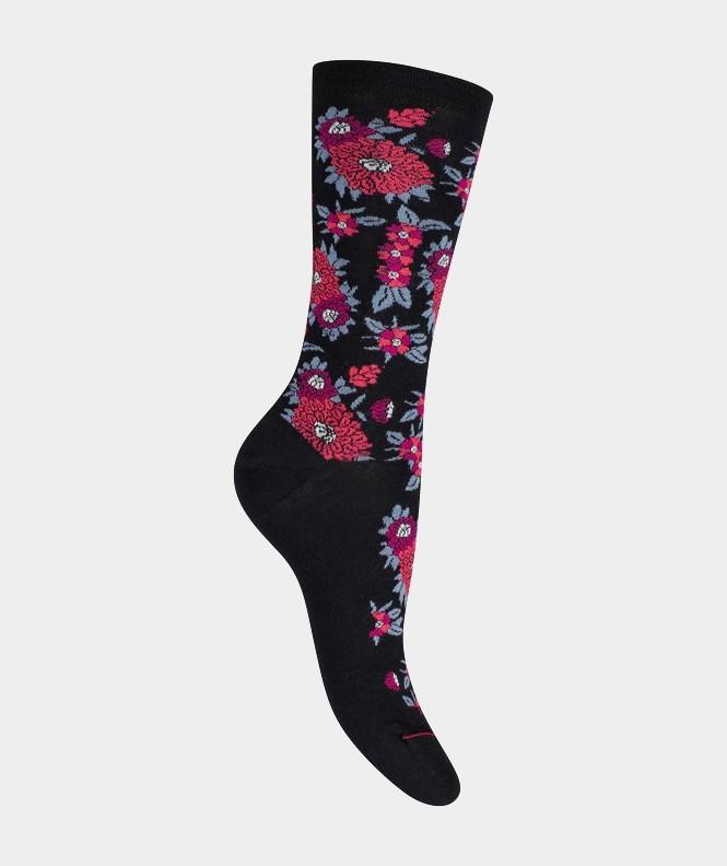 Mi-chaussettes Fleurs et feuilles Coton et Laine Noir