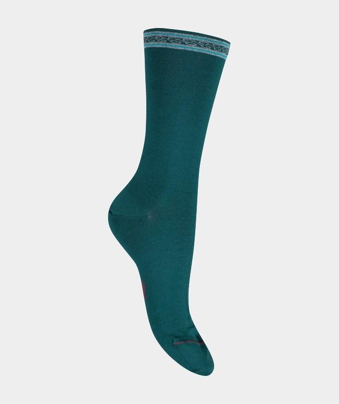 Mi-chaussettes Unies à frise Coton et Laine Vert