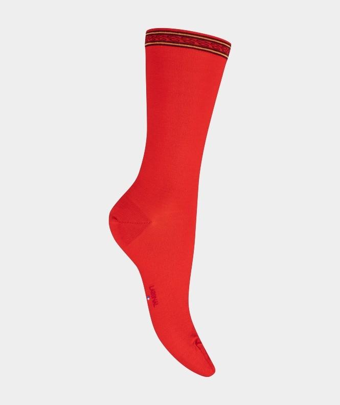 Mi-chaussettes Unies à frise Coton et Laine Rouge
