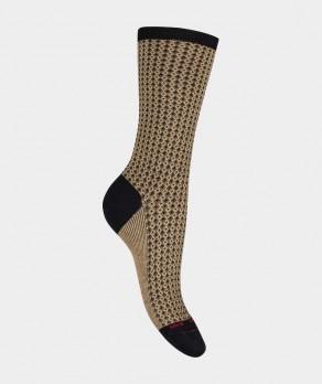 Mi-chaussettes Jacquard brillantes Coton et Laine Noir