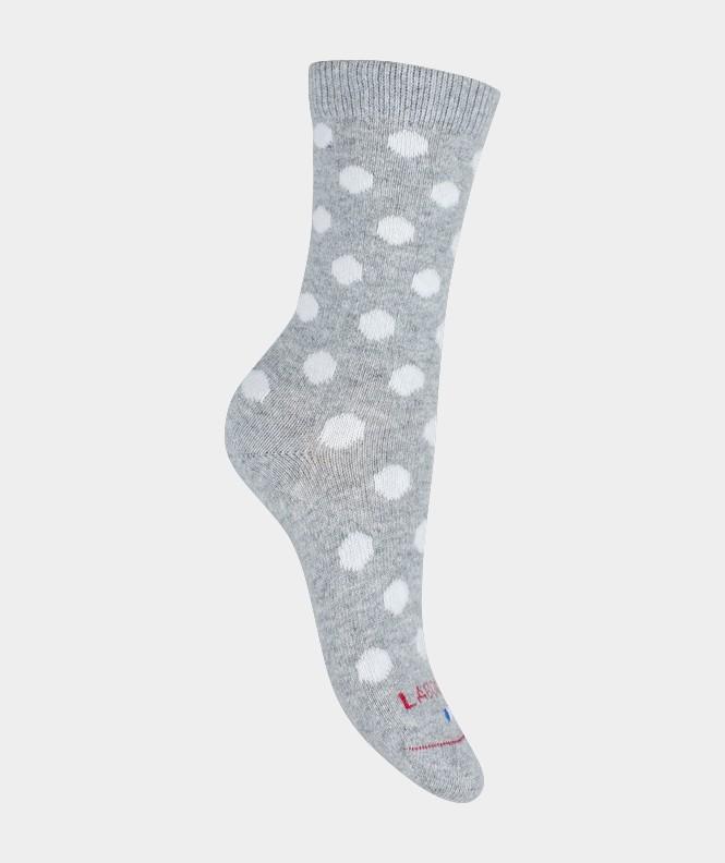 Mi-chaussettes Pois Cachemire et Laine Gris