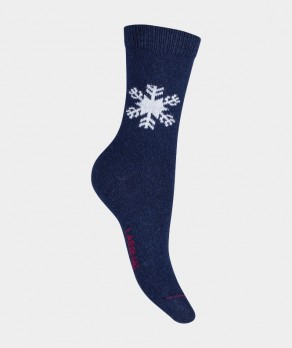 Mi-chaussettes Flocon Carchemire et Laine Bleu