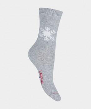 Mi-chaussettes Flocon Carchemire et Laine Gris