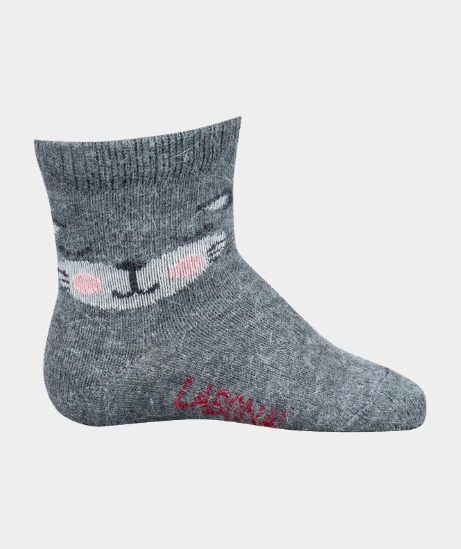 Mi-chaussettes Tête de chat Angora et Viscose Gris