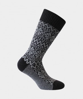 Chaussettes Norvégiennes bicolores épaisses Acrylique Noir