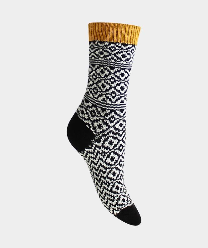 Chaussettes Norvégiennes tricolores épaisses Laine Noir