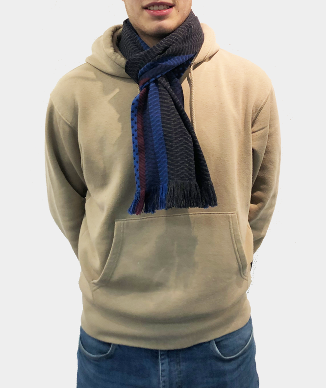 Echarpe à motif laine bleu