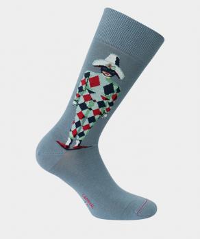 Mi-chaussettes arlequin coton gris