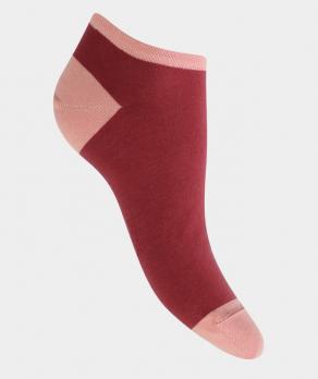 Mini-socquettes unie talon et pointe couleurs Coton Framboise