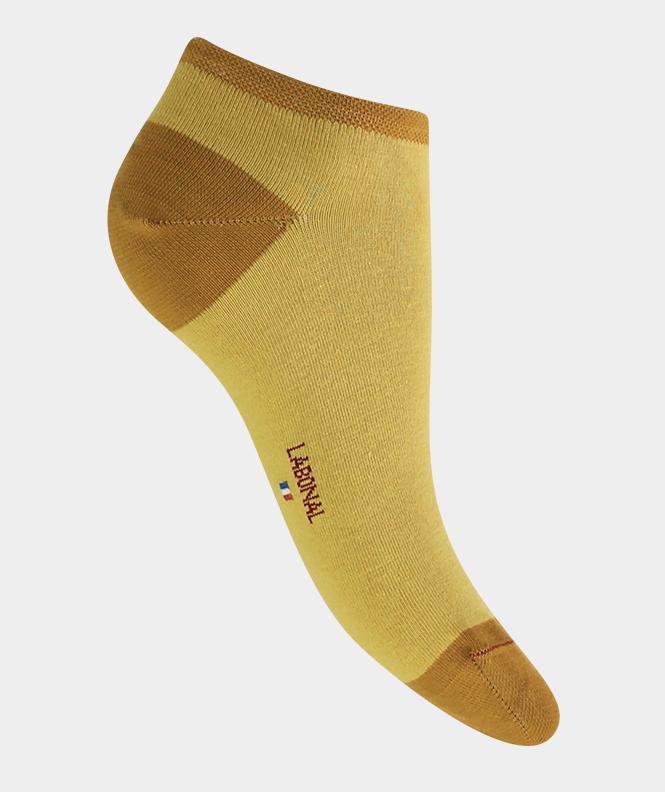 Mini-socquettes unie talon et pointe couleurs Coton Jaune