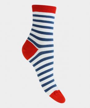 Socquettes rayure talon pointe couleurs Coton Blanc Bleu