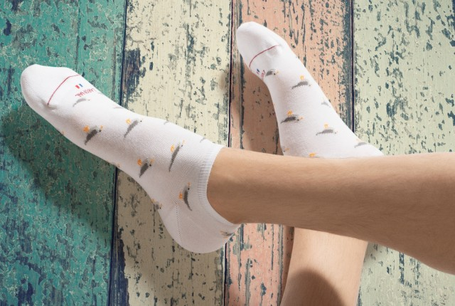 Chaussettes inspirations maritimes marin Homme Mouettes
